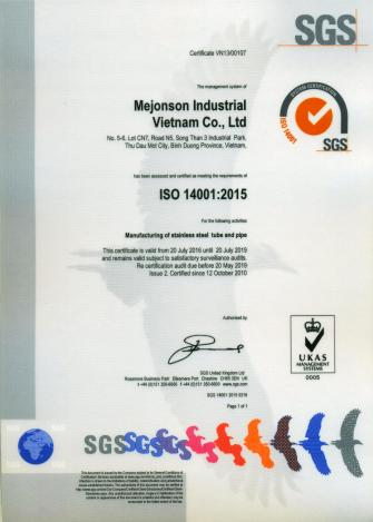 Stainless Steel Manufacturing Certificate ISO 14001