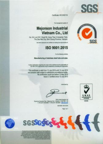 Stainless Steel Manufacturing Certificate ISO 9001